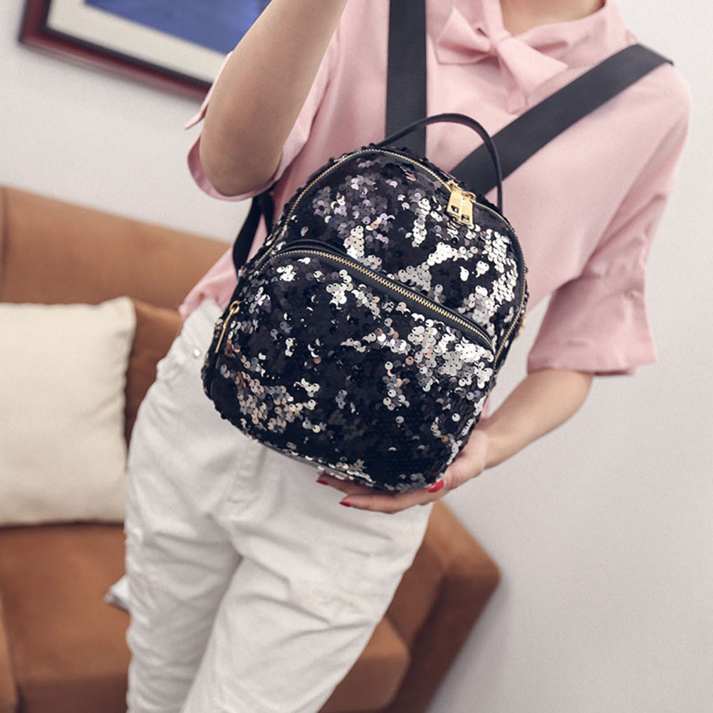 Women's PU Leather Sequins Backpack - Bling Backpack 4
