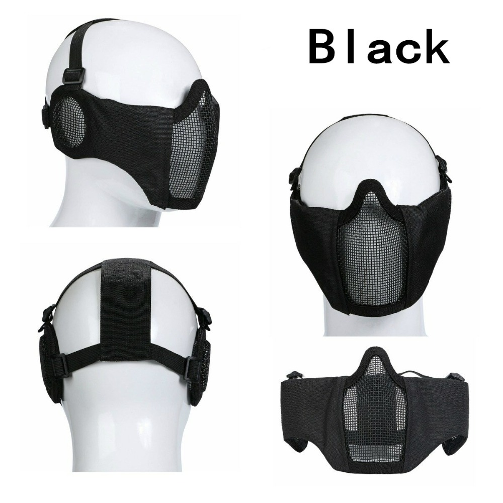 Foldable Lower Face Military Tactical Airsoft Paintball Mask Skull Half Face Steel Metal Mesh Mask Wargame Hunting Army Masks