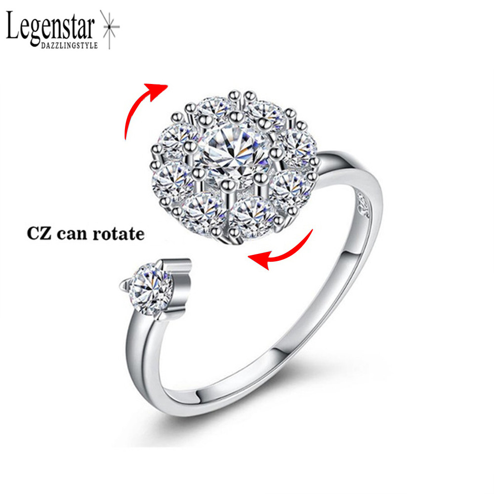 Legenstar 925 Silver Rotating Ring Design Sparking Clear CZ Crystal Adjustable Engagement Rings For Women 2018 Wholesale Jewelry