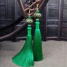 Винтаж в этническом стиле длинная ниспадающая Кисточка Серьги китайская перегородчатая эмаль традиционное ремесло Для женщин бижутерия; серьги-подвески