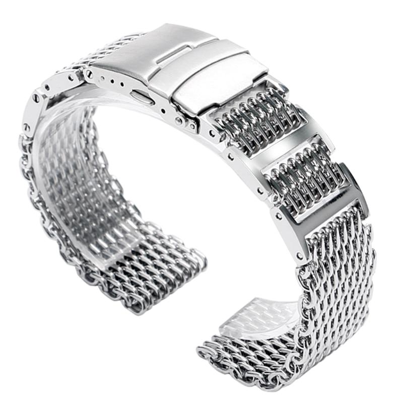 20/22 / 24mm HQ Shark Mesh Argent En Acier Inoxydable Montre Bracelet - Accessoires montres - Photo 2