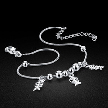 hot deal buy fish bone pendant silver anklets women solid 925 silver anklets.cute girl fashion anklets.charming lady real 925 silver jewelry