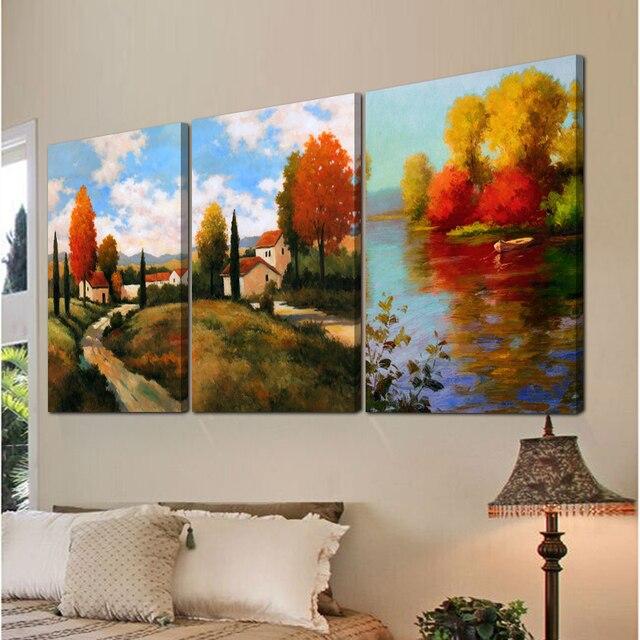 3 piezas rbol arte moderno lienzo pintura cuadros para for Cuadros pequenos para sala