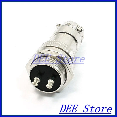 Industrial Panel Mount 16mm Dia Screw 2Pin Metal Aviation Connector Plug abb industrial connector four pole mobile industrial plug 63a 363p6