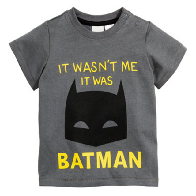 2017 new summer baby t-shirt 0-2 year Short Sleeve Batman Cartoon Pattern baby boy / girls shirt