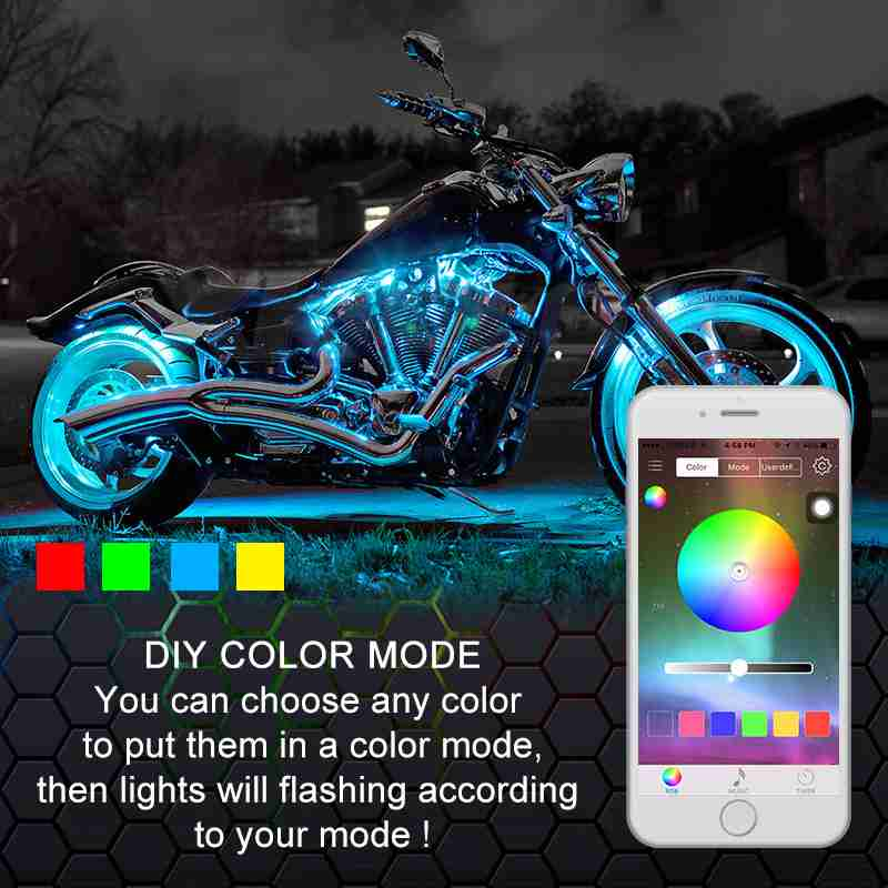 CARACAL 16X Motorcycle LED Light Kit Neon Under Glow Strips Frame ...