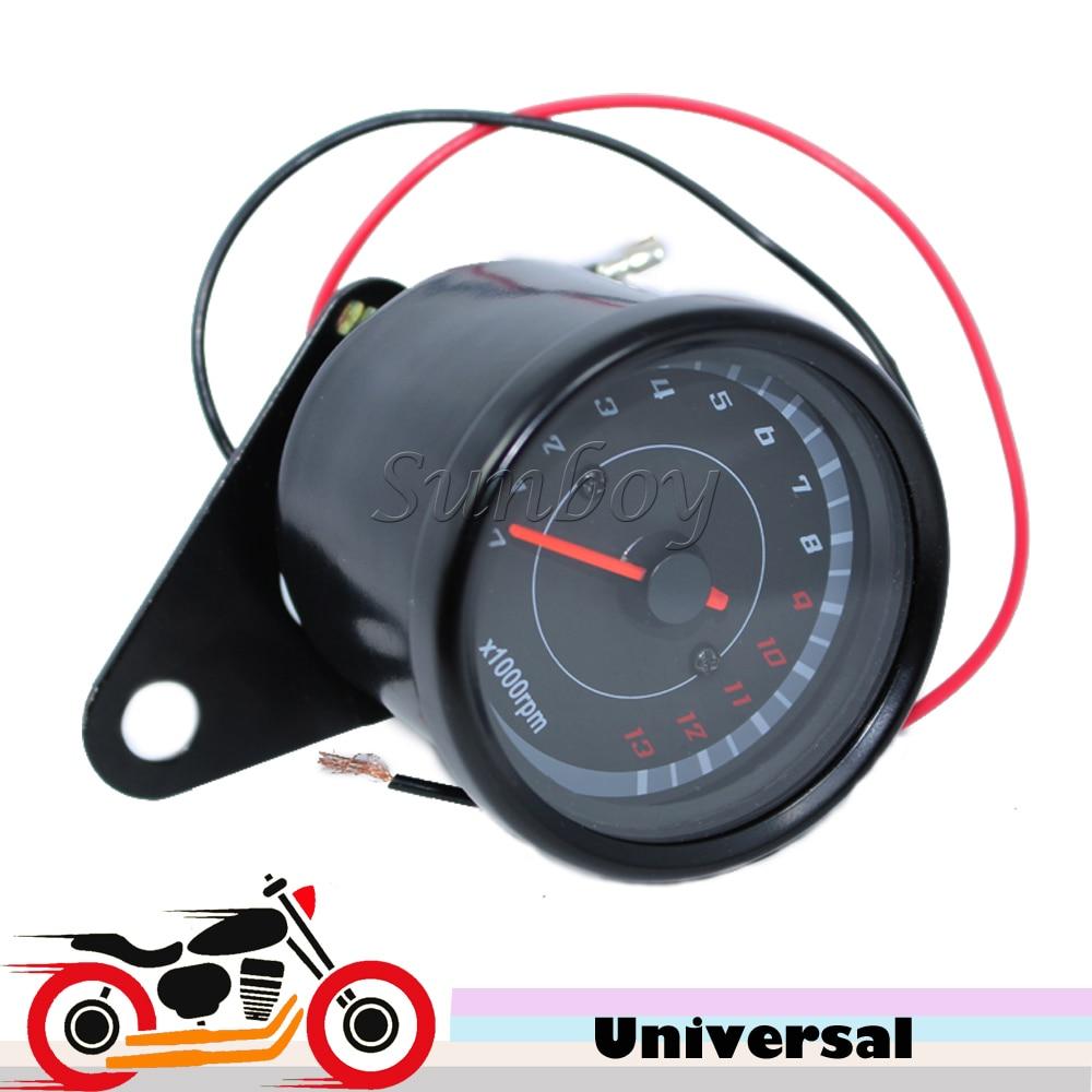 Universal Motosiklet Scooter Tachometer 12v Qara Tacho Gauge 13000 RPM Kawasaki ZX6R 636 ZX10R 650R Ninja Suzuki Bulvarı üçün