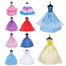 цены на 10pcs Handmade Wedding Dress Party Wear Skirt Lace Gown Clothes Outfits For Doll Accessories Toy Kids Gift  в интернет-магазинах