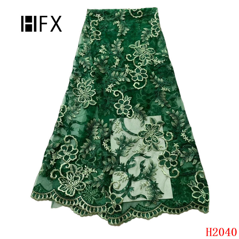 HFX Green Latest Lace Fabric Floral Embroidered High Quality French Tulle Lace 5 Yards African Bridal Dress Mesh Lace X2040HFX Green Latest Lace Fabric Floral Embroidered High Quality French Tulle Lace 5 Yards African Bridal Dress Mesh Lace X2040