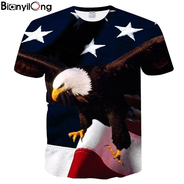 dff1e80e2c7 2018 Fashion Summer Cool Eagle Hawk Printed T Shirts Summer American Flag Tee  Tops Unisex Men s 3D T Shirt Thip Hop Style tops