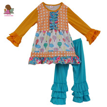 Toddler Girls Outfits Baby Cotton Clothes Kids T-shirt Tops Infant Ruffle Pants 2PCS Boutique Suit children's clothing sets F101