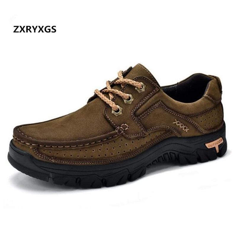 Newest 2019 High Quality Cowhide Outdoor Men Shoes Casual Sneakers Shoes Flat Non-slip Comfort Nubuck Leather Shoes Men Sneakers