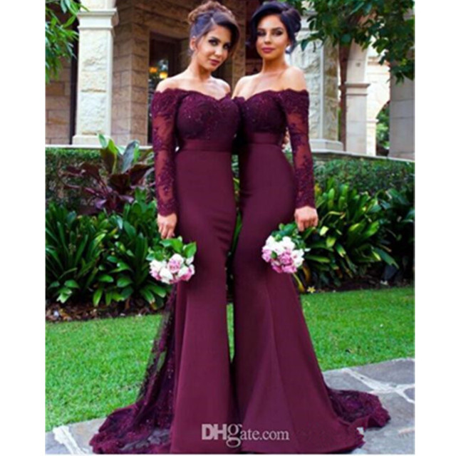 ceb5c06472aa Grape Color Garden Long Sleeve Mermaid Bridesmaid Dresses New Style  Appliques Sash Formal Party Gowns Custom Made Lace