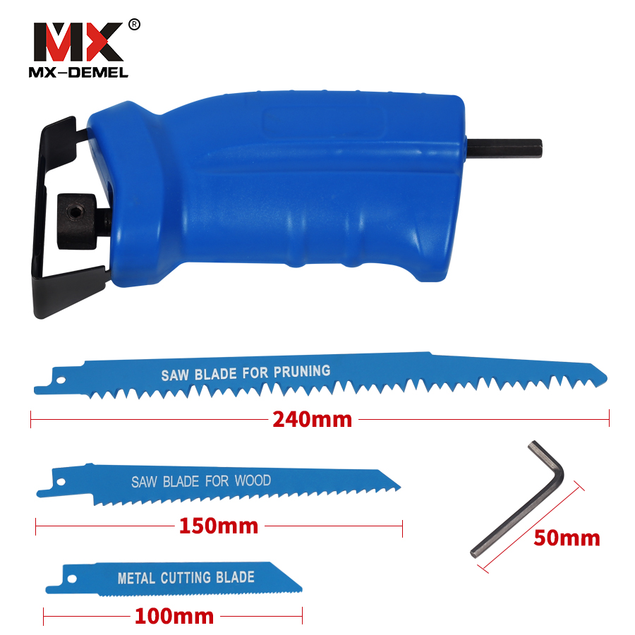 MX-DEMEL Reciprocating Saw New Power Tool Accessories Tool Wood and Metal Cutting Electric Drill Attachment With 3 Blades 10pcs jig saw blades reciprocating saw multi cutting for wood metal reciprocating saw power tools accessories rct