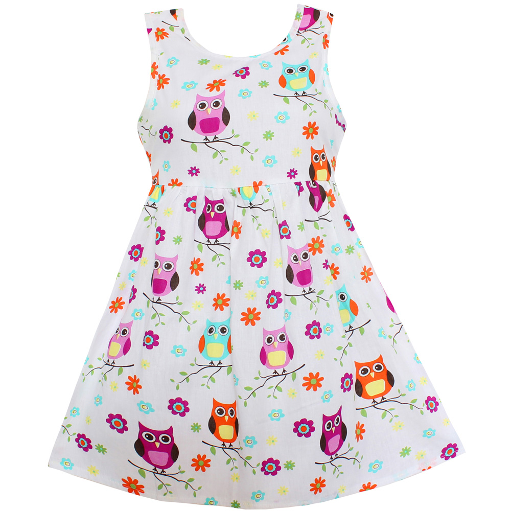 Shybobbi New <font><b>Girls</b></font> <font><b>Dress</b></font> White Owl Bird Flower Print Party <font><b>Princess</b></font> Casual Summer Kids Clothing Size 4-14 image
