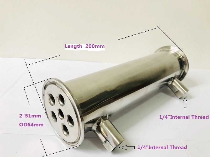 2 51mm OD64 Sanitary Dephlegmator Distillation Condenser 6 Pipes Inside ID 8mm Lenght 200mm Reflux Stainless