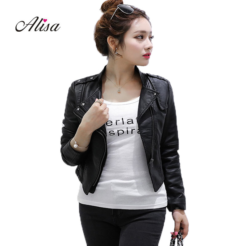 2018 New   Leather   Coats Women's Spring Autumn Slim Punk Jacket Ladies Biker Black   Leather   Jacket Woman Zipper Moto Pvc Coat Cheap