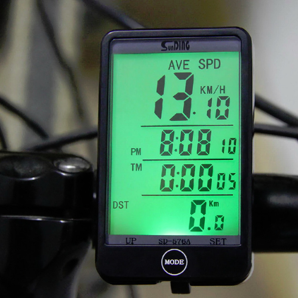 Water-resistant Multifunction Wired Cycling Bike Bicycle Computer Odometer Speedometer Touch Button LCD Backlight Backlit
