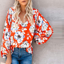 2019 New Autumn Long Sleeve Floral Blouse Shirts Women Casual V-neck Puff Sleeve Tops attractive floral printed v neck long sleeve blouse for women