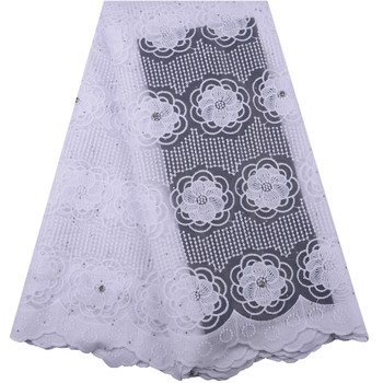 Nigerian Lace fabrics 2019 African Mesh Tulle Lace High Quality Milk Silk Lace Fabrics French Lace With Stone For Wedding F1420