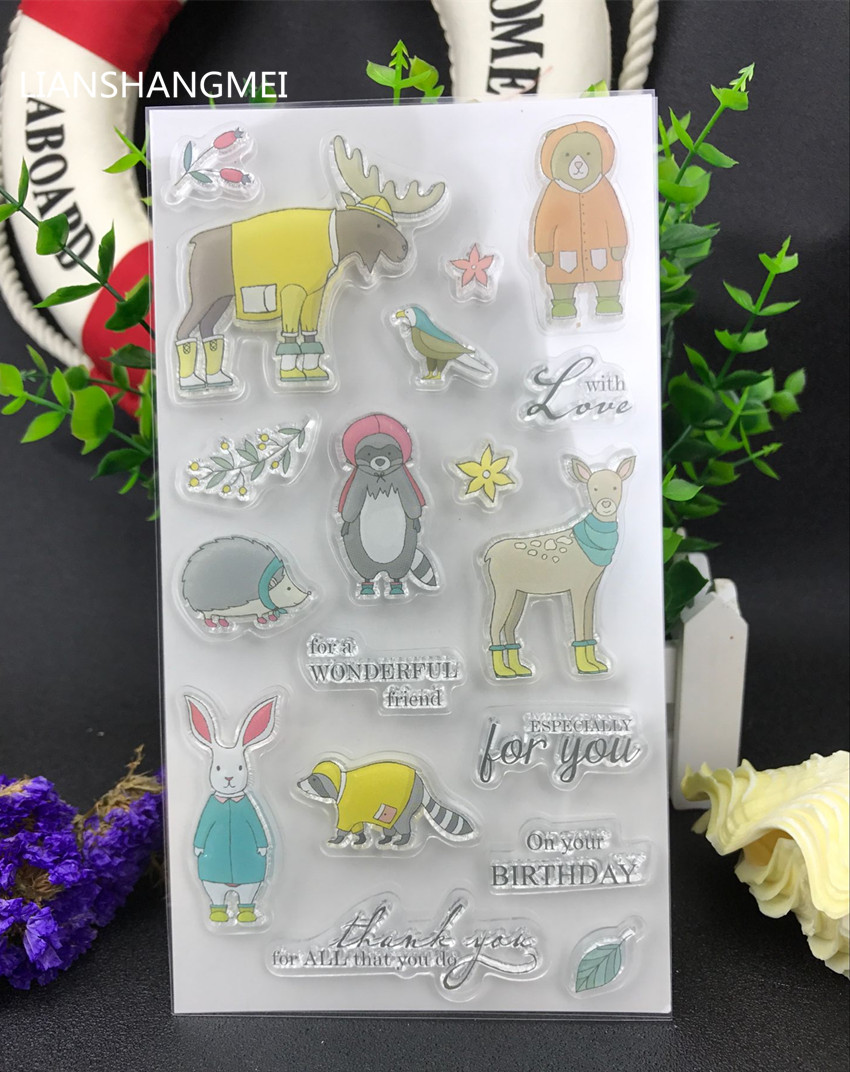 Winter animal Transparent Clear Silicone Stamp/Seal for DIY scrapbooking/photo album Decorative clear stamp lovely animals and ballon design transparent clear silicone stamp for diy scrapbooking photo album clear stamp cl 278