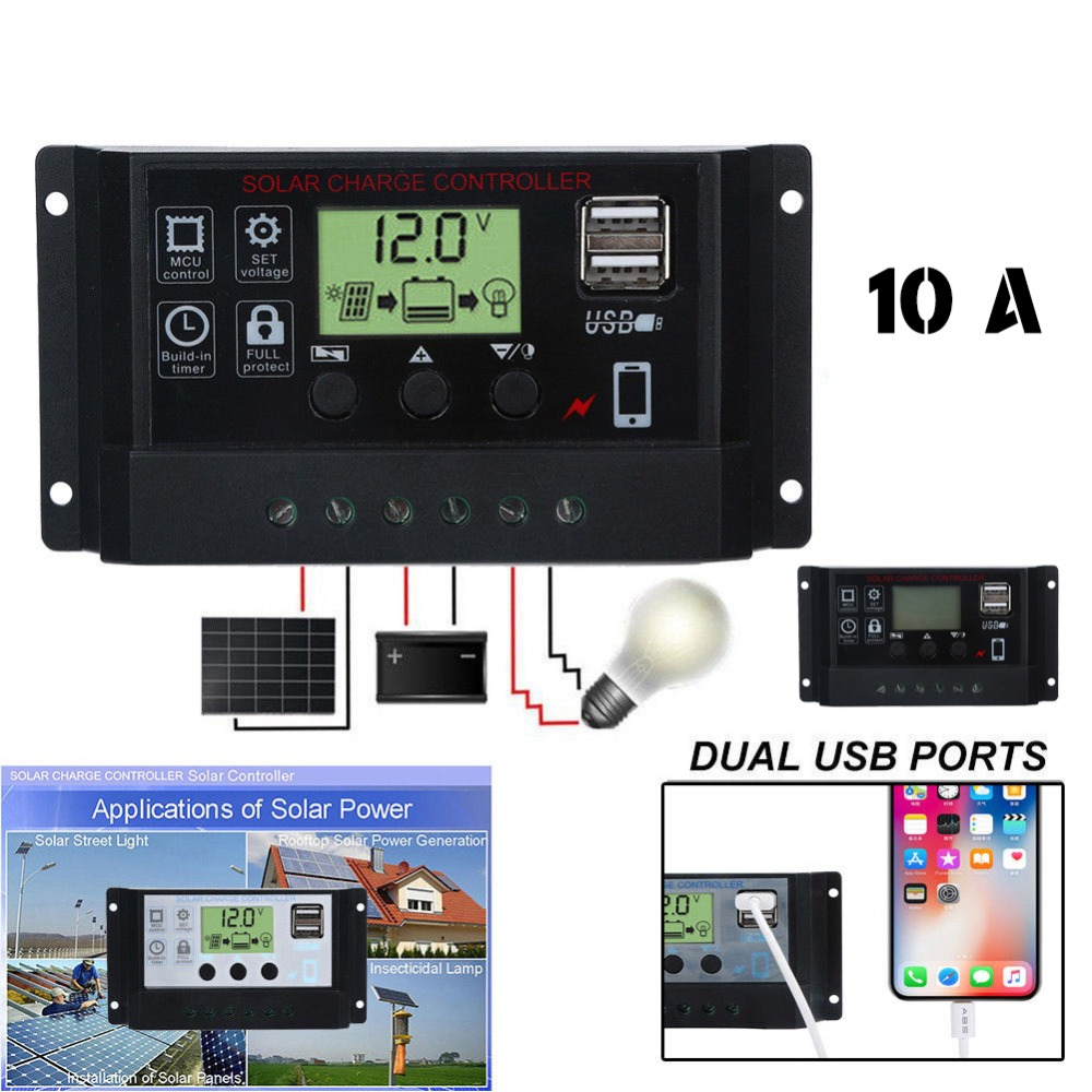 10/20/30/40/50/60A de controlador de carga de la batería del Panel Solar PWM pantalla LCD colector Solar regulador con salida USB Dual