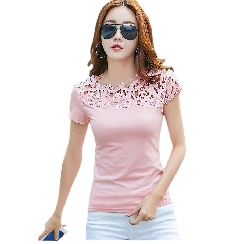 Summer Women   T     shirts   Black White Women Lace Cotton Patchwork Basic   T  -  shirts   Casual Tops Short Sleeve Tee   Shirt   Femme 2019 4XL