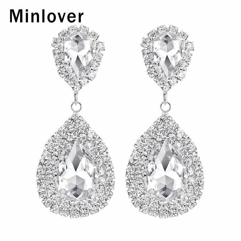 Minlover Siver Color Bride Wedding Earrings for Women Teardrop Rhinestone Large Dangle Earrings Fashion Jewelry Christmas MEH003