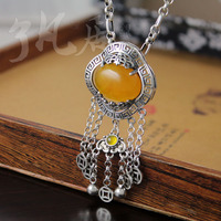 2 colors women jewelry authentic 925 sterling silver Pendant lock Handmade Natural Yellow chalcedony necklace for girls
