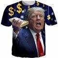 2016 Новый Мужская Футболка Дональд Трамп 3D Печати Футболки Лето Повседневная Мода Трамп Футболки Homme Плюс Размер 6XL
