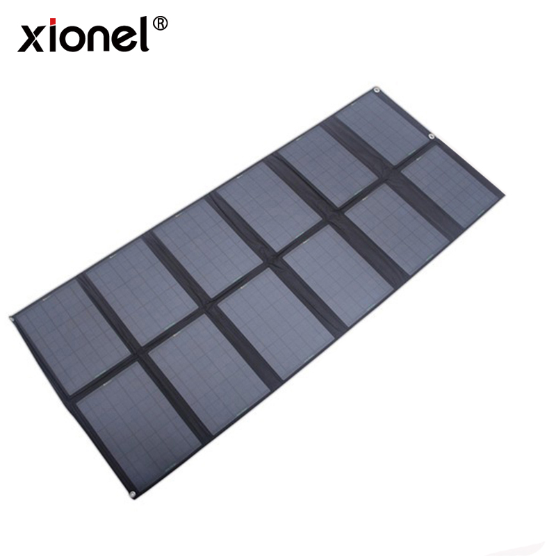 Xionel 120Watt Foldable Cloth Solar Panels Solar Powered Charger for Laptop/Computer/12V RV/Caravan/Car/Boat Battery 50w 12v epoxy solar panels solar cells battery flexible polycrystalline silicon diy solar modules pro for boat rv car 540x550mm