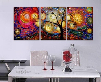 Abstract Art 100% Handpainted Oil Painting Colorful flower Tree Wall Picture Artwork Modern Art Knife Oil Painting On Canvas