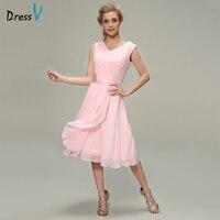 Dressv Pink Bridesmaid Dress V Neck A Line Sleeveless Tea Length Sashes Ribbons Pleats Wedding Party Prom Dress Bridesmaid Dress