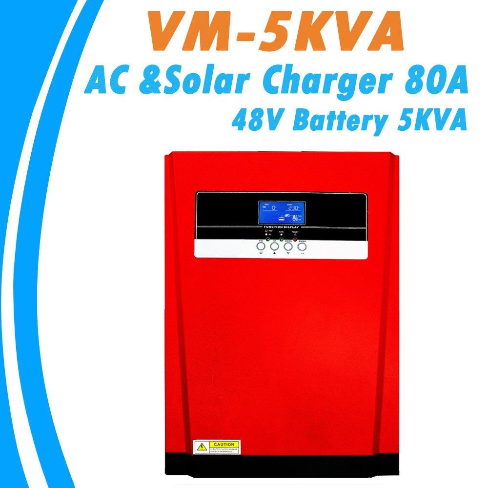 5000 Вт Чистая Синусоидальная волна солнечный гибридный инвертор MPPT 80A Солнечная Панель зарядное устройство и AC зарядное устройство все в одн...