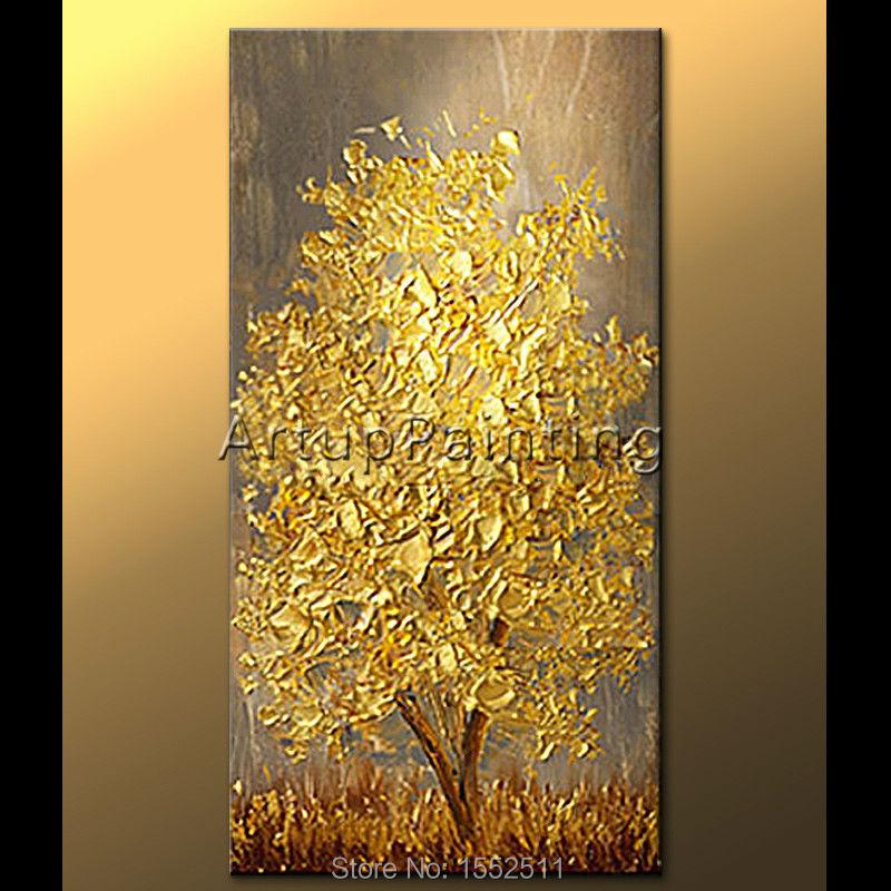pintado a mano moderno esptula textura d flores y rboles el leo de la lona pintura de pared cuadros para la sala de estar de