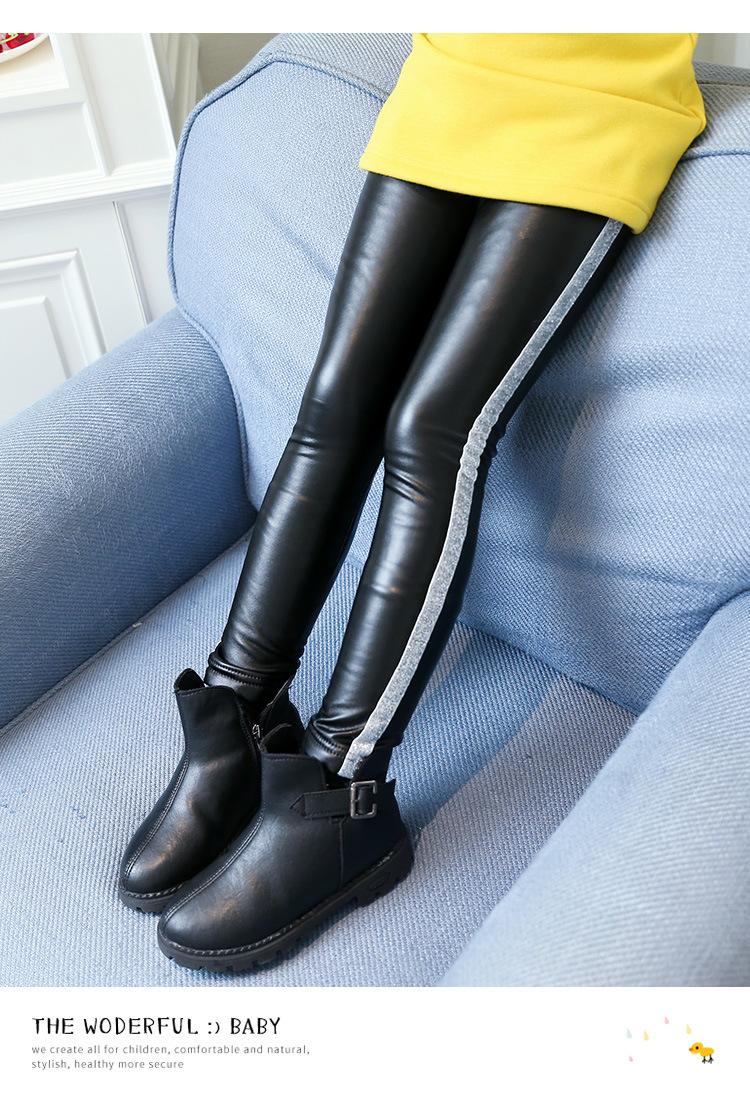 b59a606c346396 Kids Girls Leather Pants Winter Fleece Trousers 2018 Children Girls Leggings  for Winter Fleece Lined Pants Kids Thick PU Trousers