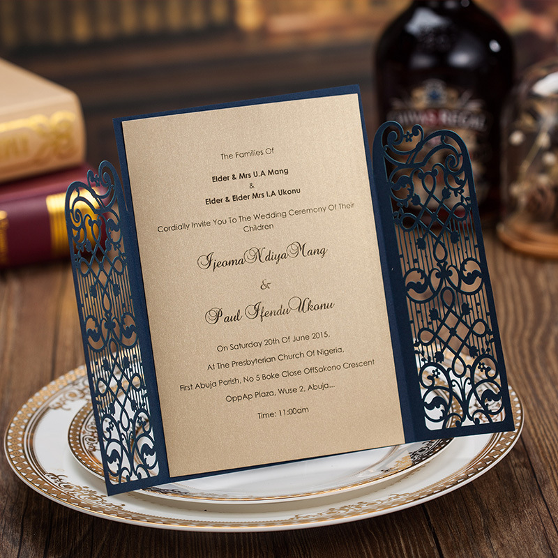 Nuevo Laser Cut Banquete De Boda Invitaciones Personalizadas