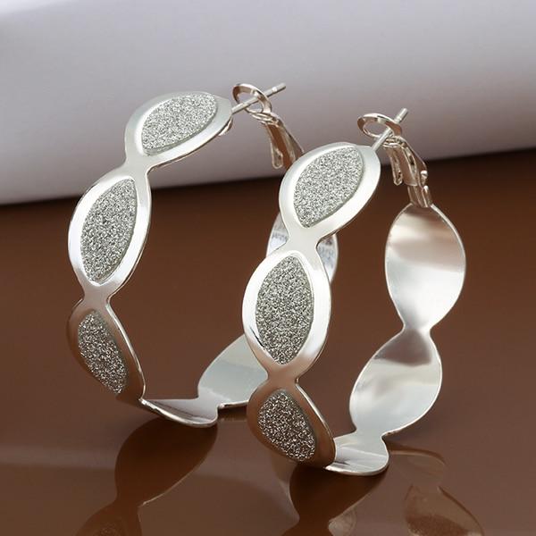 2017 925 sterling silver wide grand cross egg Flat round earring hoop for women girls fine fashion trendy wholesale jewerly