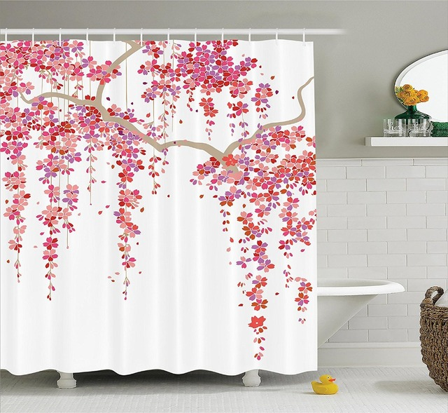 Cherry Blossom Trees Branch Springtime Happy Vacation Traveling Polyester Fabric Bathroom Shower Curtain Lilac Coral