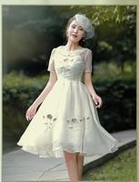 High Quality Summer New Women S Clothing Fashion Elegant Retro Embroidered Short Sleeve Slim Chiffon Dresses