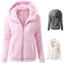 NIBESSER Women Pink Hoodies Sweatshirt Long Sleeve Hoodies Jacket Coat Female Long Sleeve Zipper Casual Warm Lambskin Overcoats(China)