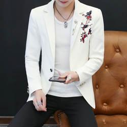 Хо, 2019 Новые мужские досуг cultivate one's morality блейзер в полоску с вышивкой Молодежные тонкие модные модели. Пиджак