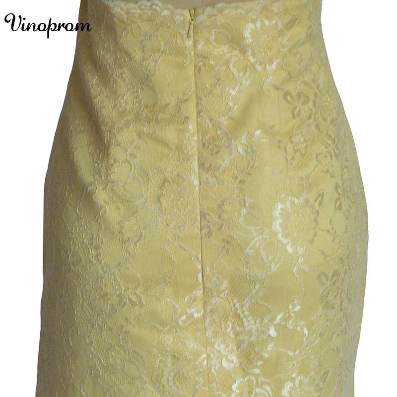 Style de pays 2017 date jaune dentelle courte robes de demoiselle d'honneur pour les mariages pas cher bijou dos nu genou longueur décontracté - 5