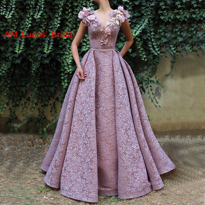 Saudi Arabic Dubai Glitter Prom Party Gowns Handmade Flowers   Bridesmaid     Dresses   For Wedding Party Bridal Gowns