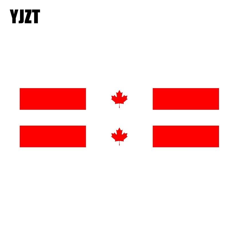 YJZT 2X 15CM*1.6CM Car Sticker Canada Flag Body Racing Reflective PVC Decal 6-1146