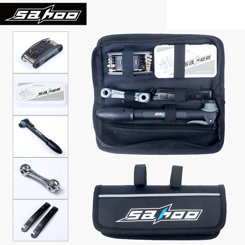 SAHOO 16 in 1 Multifunction MTB Bicycle Bike Tire Tyre Repair Tools Kit Set Bag