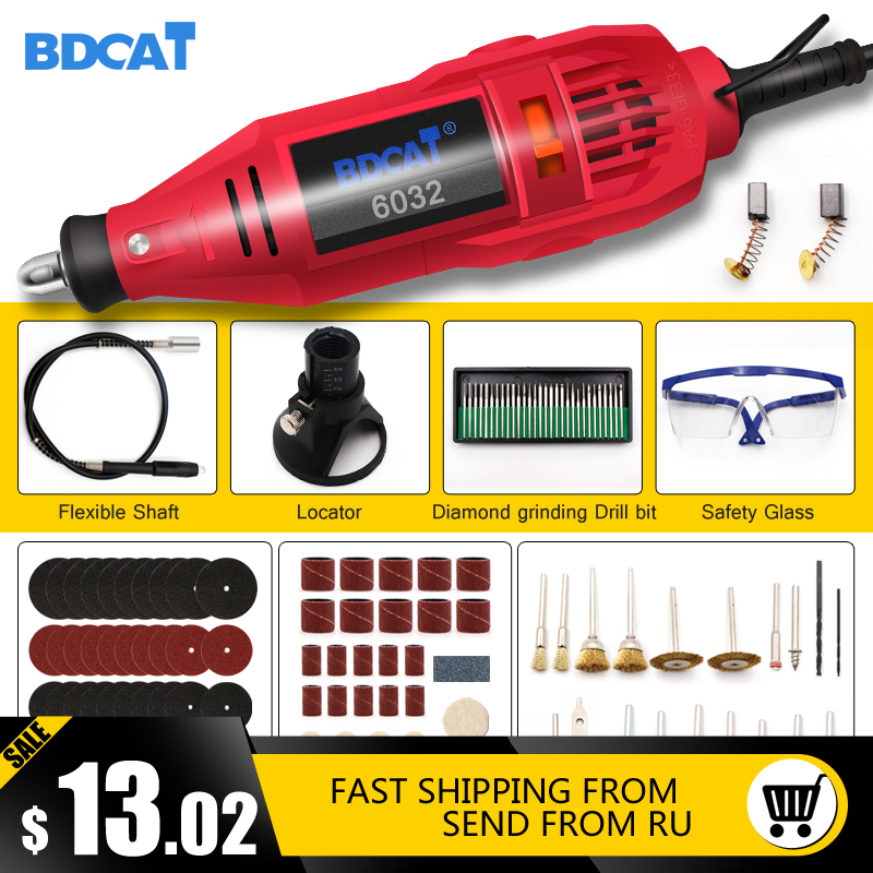 BDCAT 180w Engraving Electric Rotary Tool Variable Speed Mini Drill Grinding Machine With Power Tools Dremel Tool Accessories