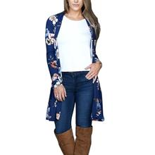 2017 Fashion New Hot Women Floral Long Sleeve Cardigan Female 4 Colors All Matched Outwear Long Clothing Elegant Open Stitch