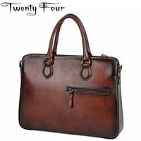 Twenty Four Male Men S Vintage Real Crazy Horse Leather Briefcase With Hard Handle Messenger Shoulder