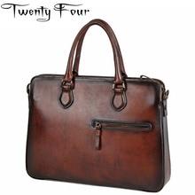 Twenty-four Male Men's Vintage Real Crazy Horse Leather Briefcase With Hard Handle Messenger Shoulder Portfolio Laptop Bag Case